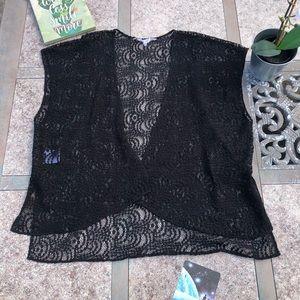 BCBG lace kimono vest